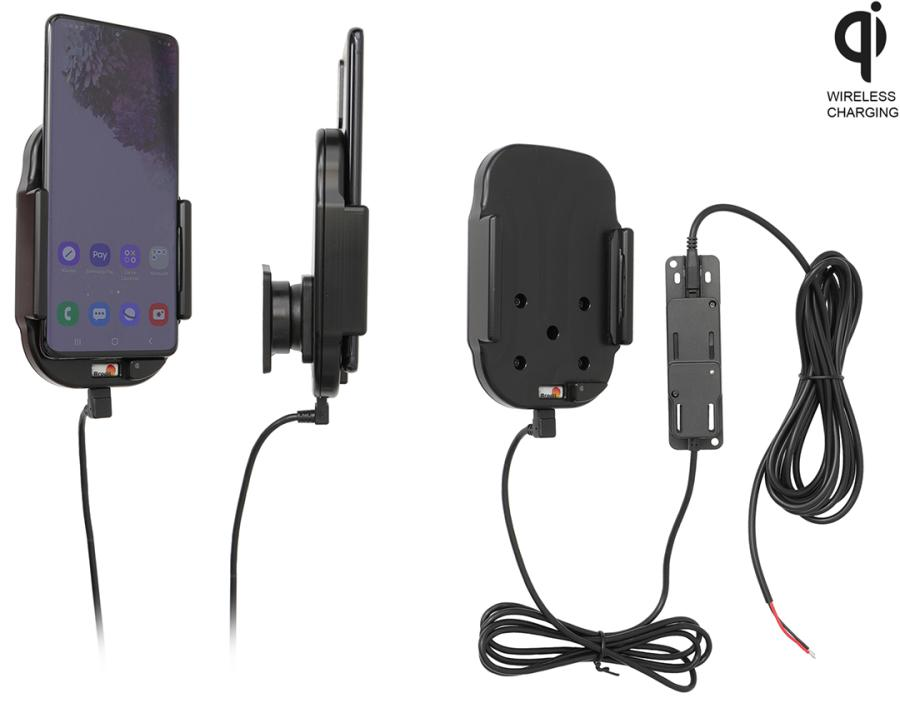 Qi wireless active holder for fixed installation